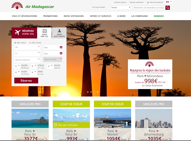 Air Madagascar : un nouveau site web plus interactif
