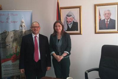 David Sprecher et Madame la Ministre du Tourisme de l'Autorité Palestinienne, Madame Rula Ma'an - DR