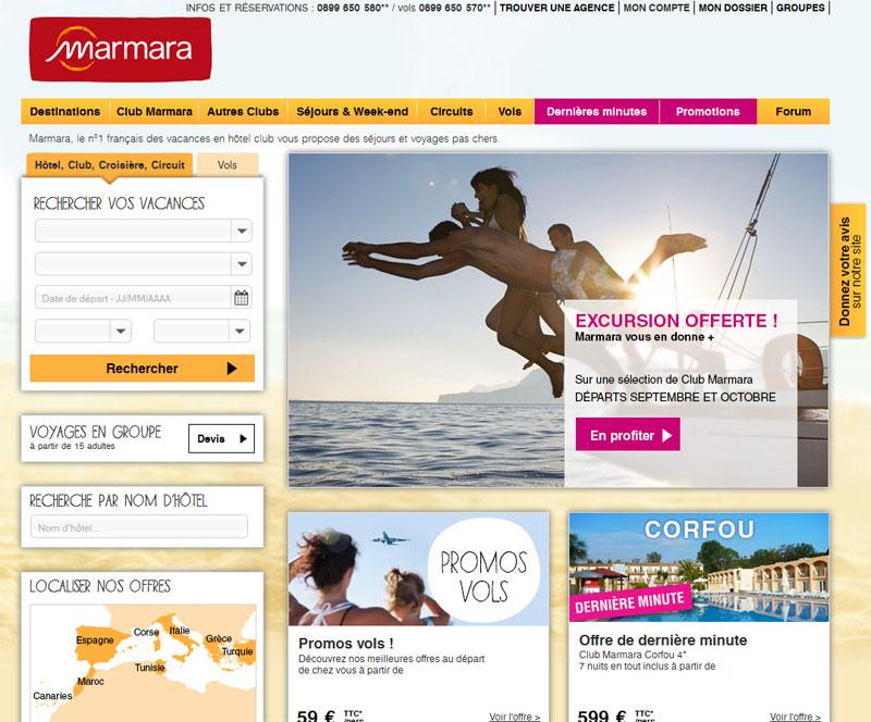Le site Marmara.com - Capture écran