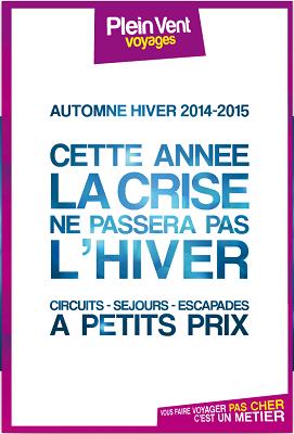 La brochure Hiver 2014/2015 de Plein Vent est actuellement distribuée en agences de voyages - DR : Brochuresenligne.com