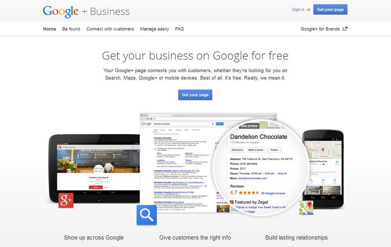 La page d'accueil de Google Business - Capture d'écran Google