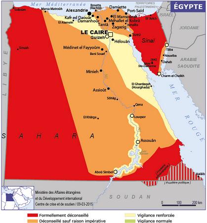 La carte des recommandations du MAE sur l'Egypte - DR : Ministère des Affaires étrangères