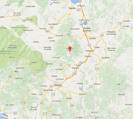 Le volcan de Colima est situé à la frontière entre les états mexicains de Jalisco etd e Colima - DR : Google Maps