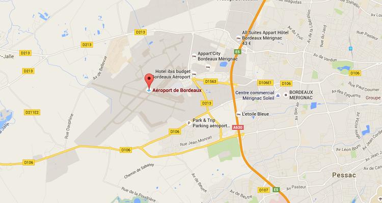 L'aéroport de Bordeaux Mérignac accueille de plus en plus de passagers cet été - DR : Google Maps