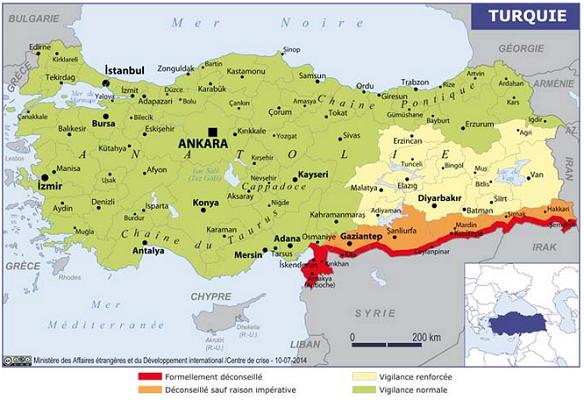La carte des recommandations du Quai d'Orsay sur la Turquie - DR : Ministère des Affaires étrangères