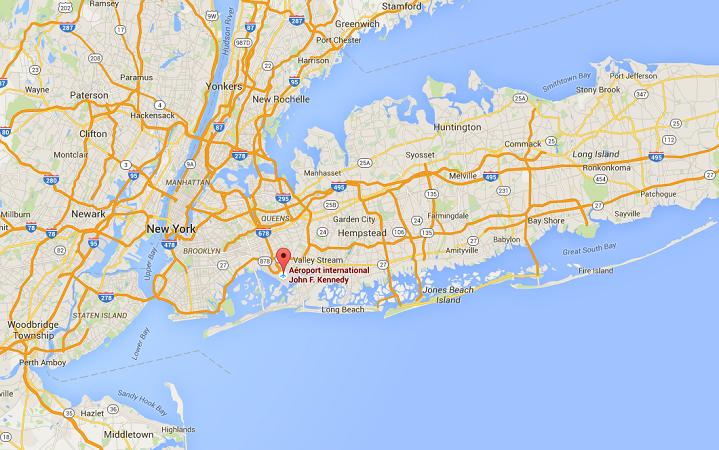Le trafic de l'aéroport de JFK à New York devrait être perturbé à partir de 22 heures ce mercredi - DR : Google Maps