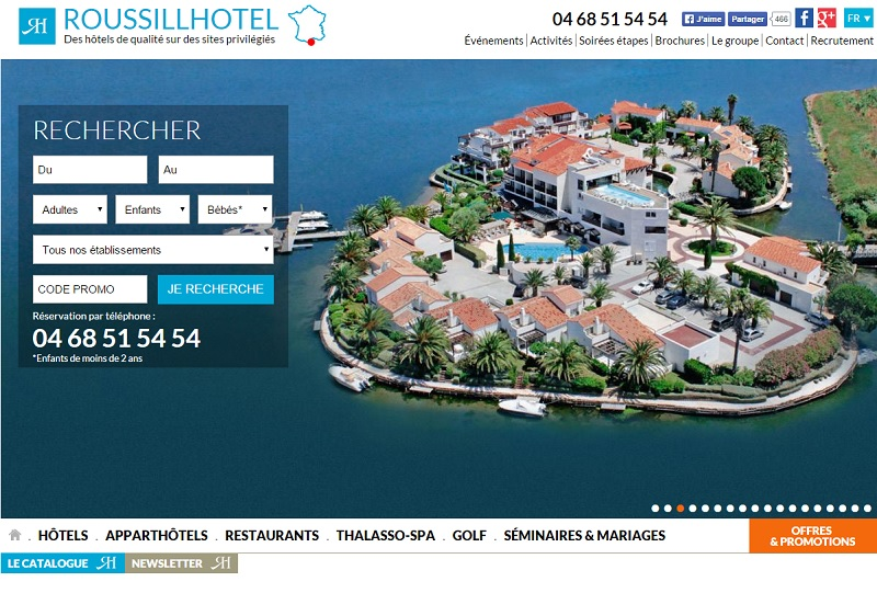 Roussillhotel modernise son site web pour favoriser le for Site web pour hotel