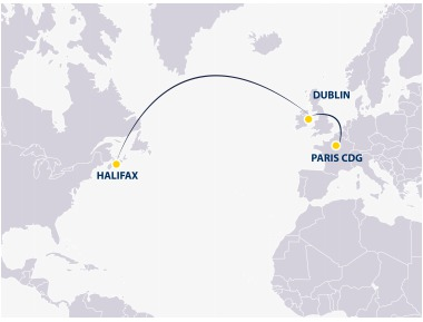 Europe Airpost flies towards Halifax from CDG via Dublin - DR: Europe Airpost