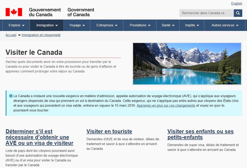 Après les USA c'est au tour du Canada de mettre en place un formulaire électronique payant /capture écran