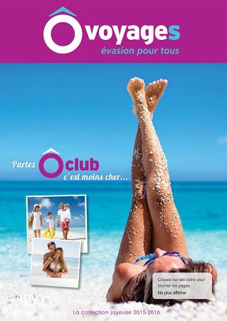 Couverture de la brochure 2015/2016 d'Ôvoyages - DR : Ôvoyages