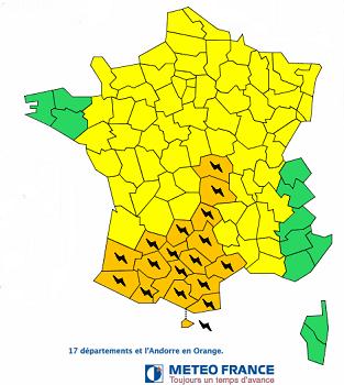 La carte des vigilances de Météo France pour lundi 31 août 2015 - DR : Météo France