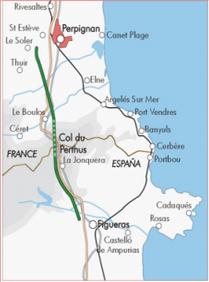 Tracé de la ligne TGV entre Perpignan et Figueres - DR : TP Ferro