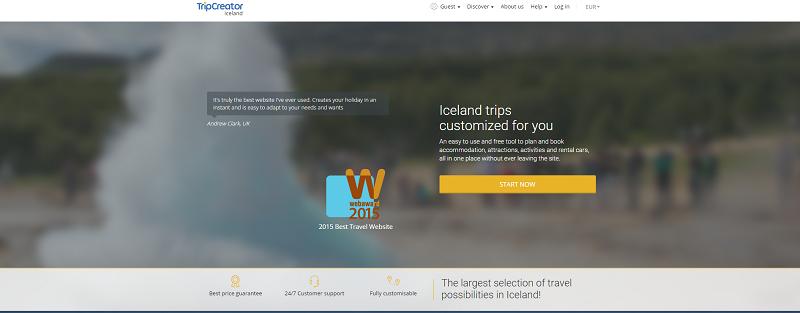 TripCreator élu meilleur site web voyage/tourisme - Capture d'écran TripCreator.com