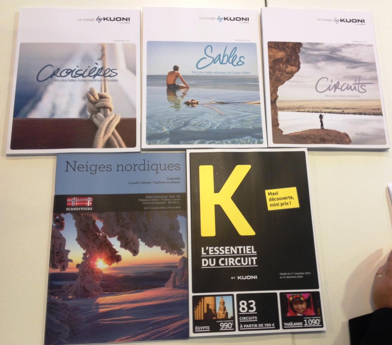 Les 5 brochures du groupe Travel Lab correspondent à segmentation de clientèle bien particulière. DR