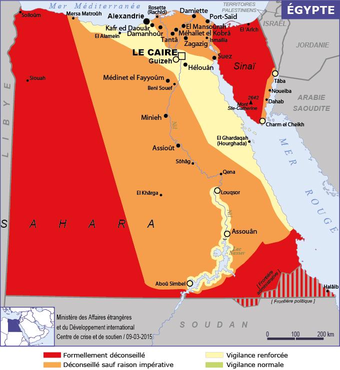 La carte des Conseils aux Voyageurs du Quai d'Orsay sur l'Egypte - DR : ministère des Affaires étrangères