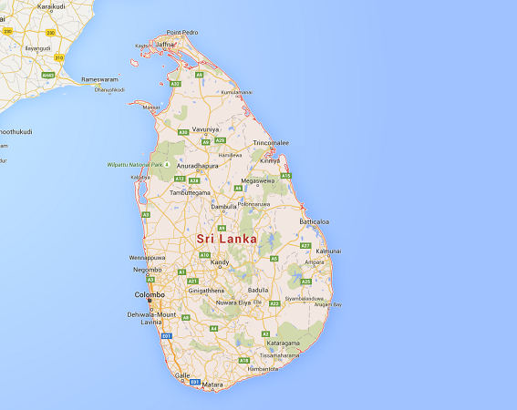 L'Ouest du Sri Lanka est en pleine période de mousson - DR : Google Maps