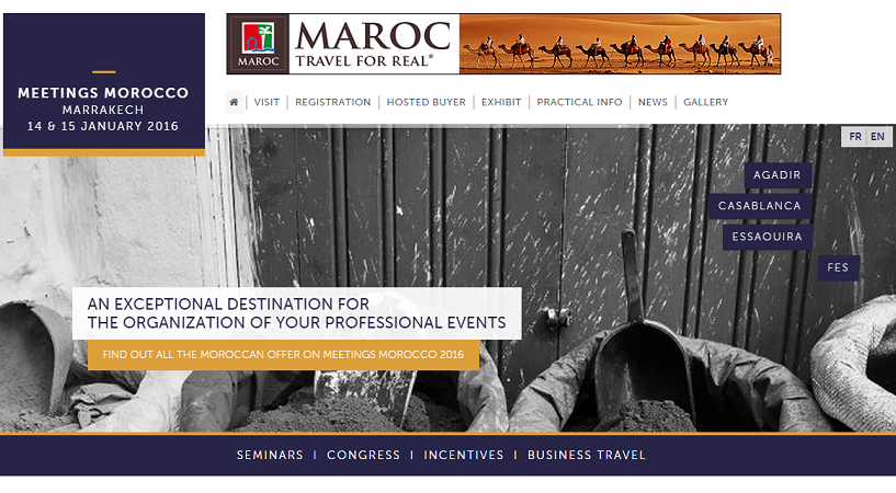 Le salon Meetings Morocco se tiendra à Marrakech les 14 et 15 janvier 2016 - Capture d'écran