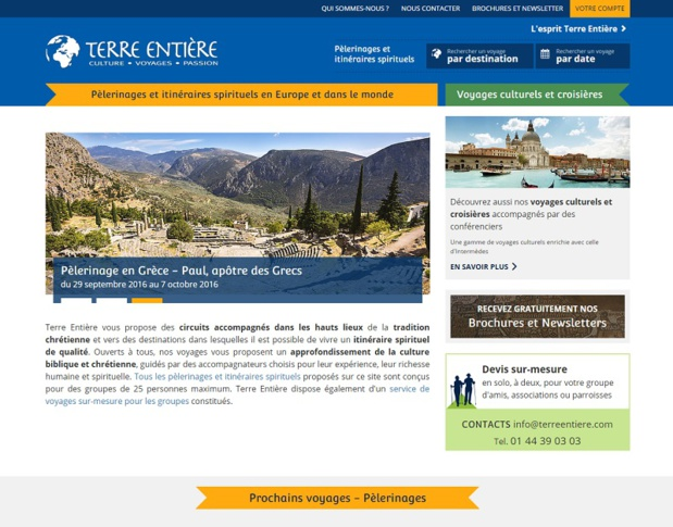 The brand Terre Entière is refocusing on pilgrimages with a website entirely dedicated to these kinds of trips. It is also linking to the Intermèdes website via a large column on the right of its homepage - DR: Screenshot Terre Entière