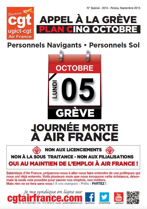 Le tract d'appel à la grève des syndicats de personnel au sol d'Air France.