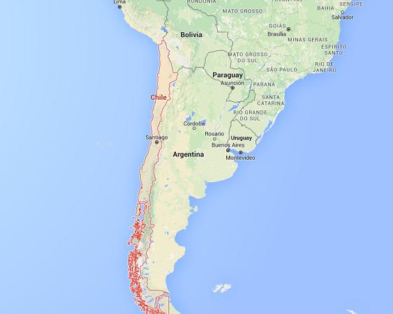 Le séisme a frappé le Nord du Chili mercredi 16 septembre 2015 - DR : Google Maps