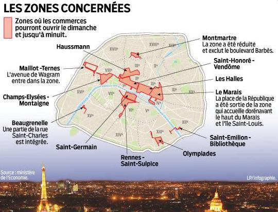 Le Parisien diffuse la carte des 12 zones touristiques internationales de la capitale - DR : Twitter - @LeParisienInfog