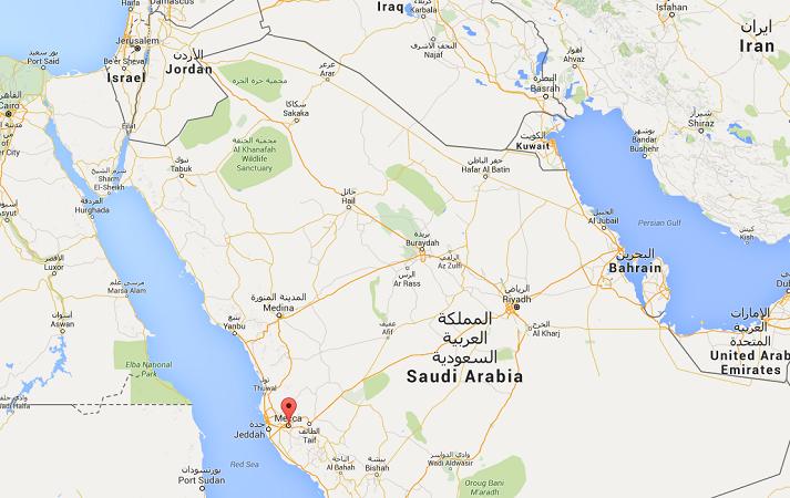 La bousculade s'est produite près de La Mecque en Arabie Saoudite - DR : Google Maps