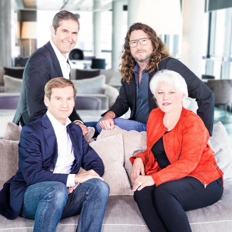 Jacques-Antoine Granjon, PDG et fondateur de vente-privee, Martine Granier, Directrice de vente-privee Le Voyage, Nicolas Brumelot et Carlos Da Silva Misterfly - Photo DR