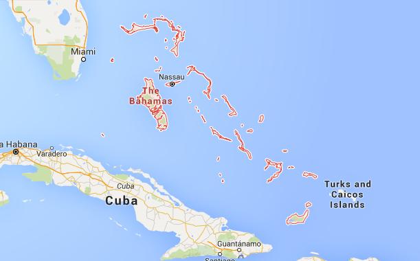 L'Ouragan Joaquin a touché le Sud de l'archipel des Bahamas - DR : Google Maps