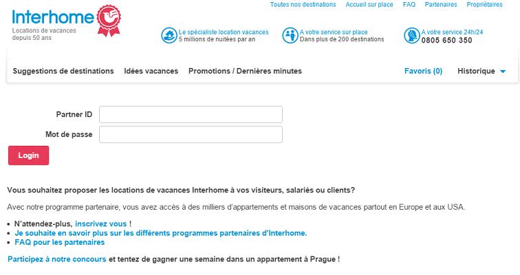 Le site professionnel d'Interhome est disponible 24h/24 et 7j/7 - Capture d'écran