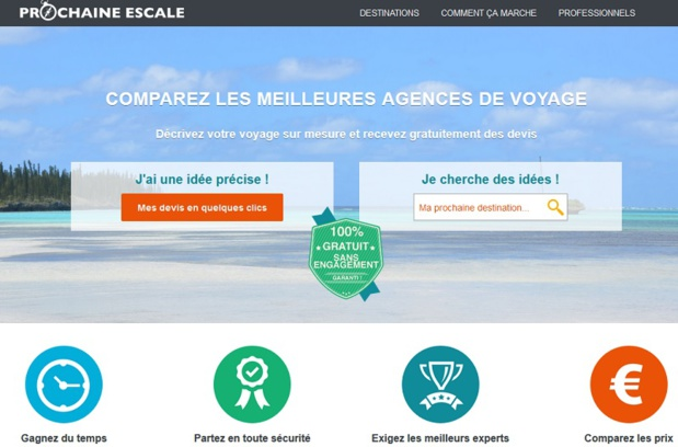 prochaine-escale.com does not hide its ambitions. In the next 3 years, the website aims at acquiring 2% of the market share of the custom-made trips segment sold by tour-operators and travel agencies - Screenshot