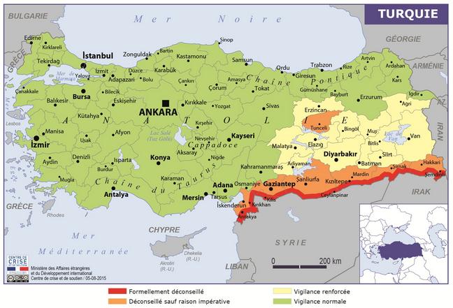 Le MAE ne déconseille pas les déplacements en Turquie mais appelle les Français sur place à faire preuve de prudence - DR : Conseils aux Voyageurs - MAE