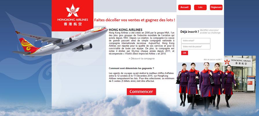 Le challenge des ventes d'HongKong Airlines vient de débuter ce lundi 12 octobre 2015 - Capture d'écran