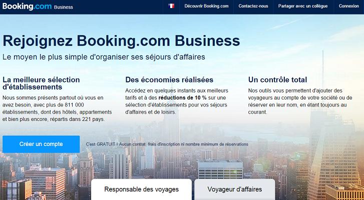 Booking.com propose une plateforme dédiée aux réservations pour des voyages d'affaires - Capture d'écran