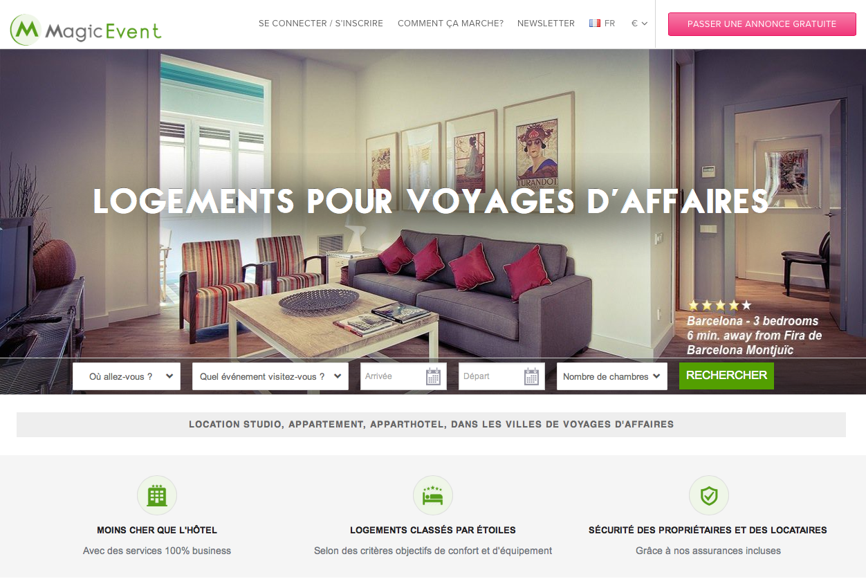 MagicEvent.com propose 8 000 logements dans les principales villes de business européennes - (c) Capture d'écran