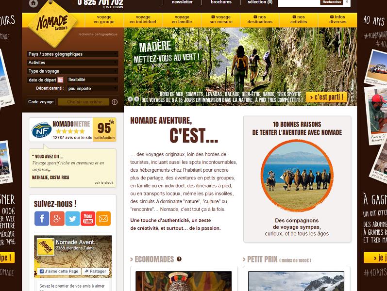 Nomade Aventure publie les avis de ses voyageurs sur son site Internet depuis 2007 - Capture d'écran
