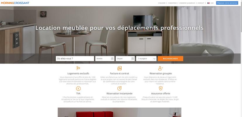 Les entreprises peuvent ouvrir un compte gratuit sur MorningCroissant.fr - Capture d'écran