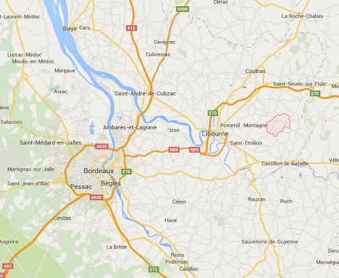 L'accident s'est produit à Puisseguin, près de Libourne, à l'Est de Bordeaux - DR : Google Maps