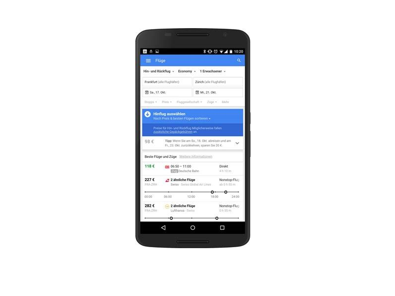 "Google Flights propose désormais une ""option train"" - (c) Google Flights"