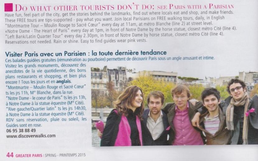 Publicité pour les Free Tour de Discover Walk à Paris publiée dans le magazine gratuit Greater Paris au printemps 2015 (Cliquez pour zoomer)