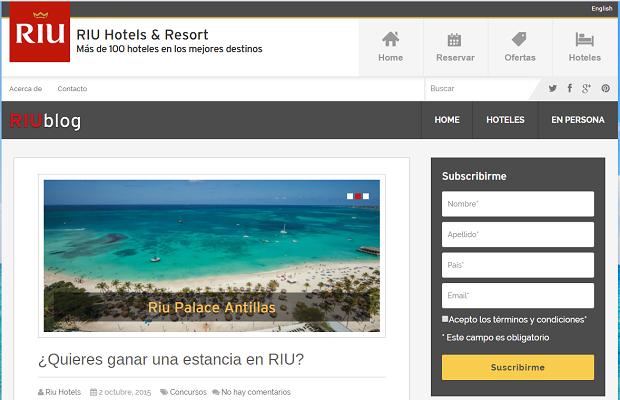 Sur son blog, RIU partagera des actualités sur ses activités - Capture d'écran