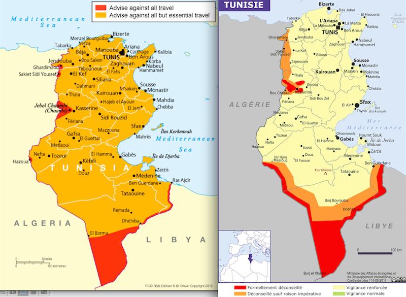 A gauche, la carte du conseil aux voyageurs britanniques après l'attentat de Sousse. A droite, celle du ministère des affaires étrangères français. DR