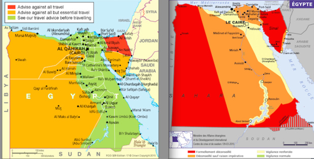 The two maps of the Ministries of Foreign Affairs: on the left the English, on the right the French. DR