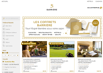 Les coffrets et cadeaux du groupe Barrière sont tous disponibles en ligne - Capture d'écran