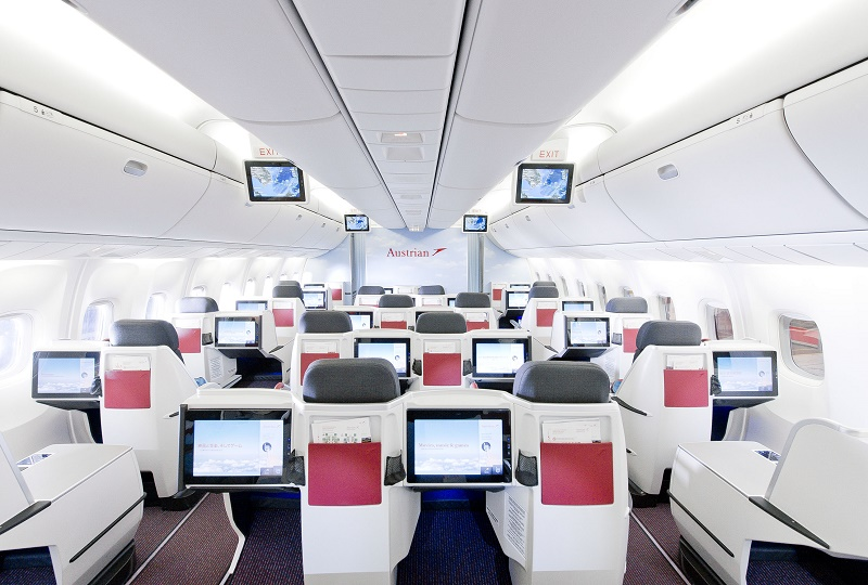 Me voilà installée à bord de l'avion, un Boeing 777 pour Vienne-New York - © Austrian Airlines Group - Claudio Farkasch