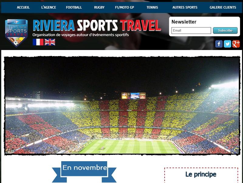 Riviera Sport Travel propose des séjours touristiques autour d'événements sportifs - Capture d'écran