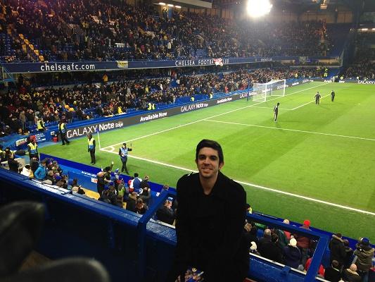 Mathieu Fayos, au stade londonien de Stamford Bridge lors d'un match de Chelsea - Photo M.F.