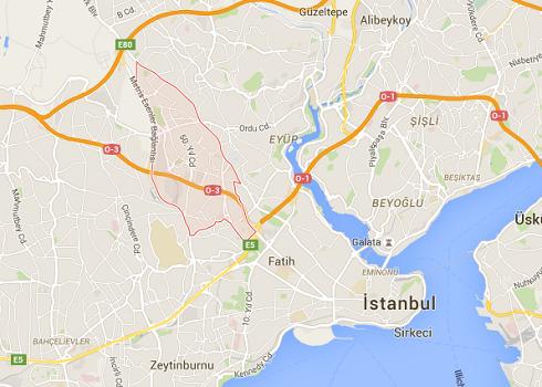L'explosion s'est produite dans une station de métro du district de Bayrampasa, à Istanbul - DR : Google Maps
