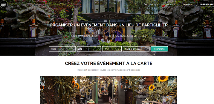 SnapEvent lance une nouvelle version de son site - Capture d'écran