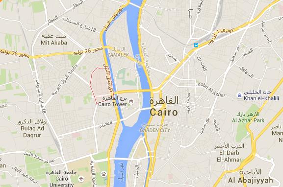 L'attaque s'est produite dans le quartier d'Agouza dans le centre du Caire - DR : Google Maps
