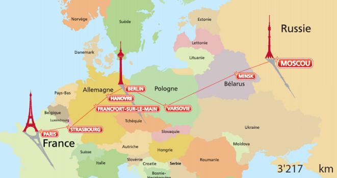La ligne ferroviaire Paris-Berlin-Moscou parcourt un trajet de 3 217 km - DR
